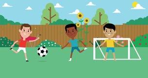 Ejemplo de los muchachos que juegan al fútbol en jardín junto stock de ilustración