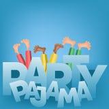 Ejemplo de los muchachos que tienen fiesta de pijamas del pijama Imagenes de archivo