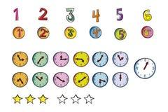 Ejemplo de los números y de los relojes imagen de archivo