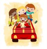 Ejemplo de los niños Driving.Vector ilustración del vector