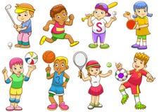 Ejemplo de los niños que juegan diversos deportes ilustración del vector