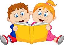 Niños que leen un libro stock de ilustración