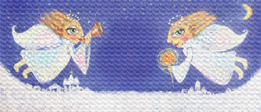 Ejemplo de los pequeños ángeles lindos de la Navidad con la bengala y la trompeta Imagen pintada a mano de la Navidad stock de ilustración