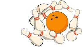 ejemplo de los pernos de bolos de la bola que lanzan que rueda en un primer blanco del fondo libre illustration