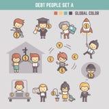 Ejemplo de los personajes de dibujos animados del esquema de la gente en deuda