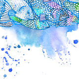 Ejemplo de los pescados de mar Fondo de la acuarela Fotografía de archivo libre de regalías