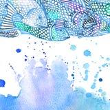 Ejemplo de los pescados de mar Fondo de la acuarela Imagen de archivo libre de regalías