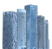Ejemplo de los rascacielos 3D aislado en el fondo blanco Fotos de archivo