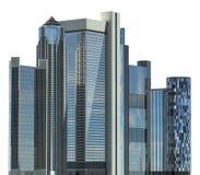 Ejemplo de los rascacielos 3D aislado en el fondo blanco Imagen de archivo libre de regalías