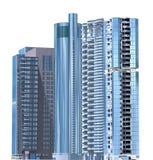Ejemplo de los rascacielos 3D aislado en el fondo blanco Imagenes de archivo