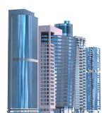 Ejemplo de los rascacielos 3D aislado en el fondo blanco Imagen de archivo