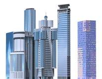 Ejemplo de los rascacielos 3D aislado en el fondo blanco Foto de archivo libre de regalías