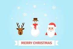 Ejemplo de los símbolos de la Navidad Tarjeta del vector en estilo plano Foto de archivo libre de regalías