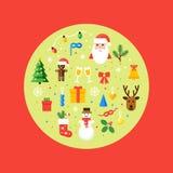 Ejemplo de los símbolos de la Navidad Tarjeta del vector en estilo plano Imagen de archivo libre de regalías