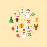 Ejemplo de los símbolos de la Navidad Tarjeta del vector en estilo plano Imagenes de archivo