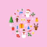 Ejemplo de los símbolos de la Navidad Tarjeta del vector en estilo plano Fotos de archivo