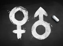 Ejemplo de los símbolos masculinos y femeninos del género stock de ilustración