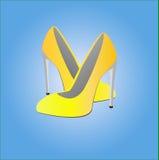 Ejemplo de los zapatos amarillos femeninos ilustración del vector