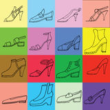 Ejemplo de los zapatos de la mujer, botas fijadas Mano-ahogue los ejemplos del calzado Bosquejo de la colección de la moda Foto de archivo