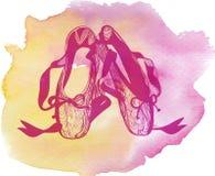 Ejemplo de los zapatos desgastados de los pointes de un ballet de los pares Imágenes de archivo libres de regalías