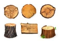 Ejemplo de madera del vector de las banderas stock de ilustración