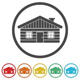 Ejemplo de madera del vector del icono de la cabaña de madera, 6 colores incluidos libre illustration