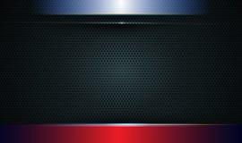 Ejemplo de metálico azul, rojo y negro abstracto con el rayo ligero y la línea brillante Diseño del marco metálico para el fondo imagen de archivo