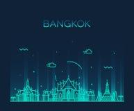 Ejemplo de moda del vector del horizonte de Bangkok linear Fotos de archivo libres de regalías