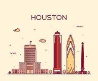 Ejemplo de moda del vector del horizonte de Houston linear Imagen de archivo libre de regalías