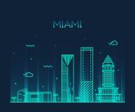 Ejemplo de moda del vector del horizonte de Miami linear Fotografía de archivo libre de regalías