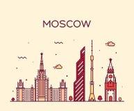 Ejemplo de moda del vector del horizonte de Moscú linear libre illustration