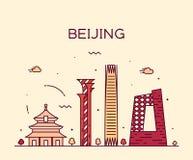 Ejemplo de moda del vector del horizonte de Pekín linear Imágenes de archivo libres de regalías