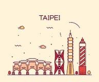 Ejemplo de moda del vector del horizonte de Taipei linear Fotos de archivo