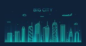Ejemplo de moda del vector del horizonte grande de la ciudad linear Imagen de archivo