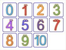 Ejemplo de números divertidos en un fondo blanco Fotografía de archivo