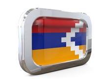 Ejemplo de Nagorno Karabah Button Flag 3D Fotos de archivo libres de regalías