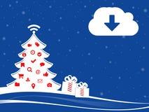 Ejemplo de Navidad con la nube y los regalos de la transferencia directa Fotografía de archivo libre de regalías