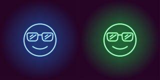 Ejemplo de neón del emoji fresco Engrana el icono foto de archivo