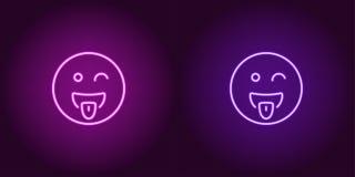 Ejemplo de neón del emoji de tomadura de pelo Engrana el icono fotografía de archivo libre de regalías