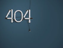 404 ejemplo de neón del texto 3d de la página del error con el espacio de la copia Fotos de archivo