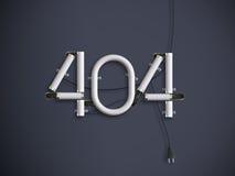 404 ejemplo de neón del texto 3d de la página del error con el espacio de la copia Imagen de archivo