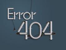 404 ejemplo de neón del texto 3d de la página del error con el espacio de la copia Imagenes de archivo