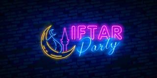 Ejemplo de neón de la tarjeta de la invitación del partido de Iftar Plantilla festiva del diseño del ejemplo del partido de Iftar ilustración del vector