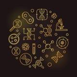Ejemplo de oro circular del esquema del vector de la bioquímica libre illustration