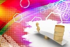 Ejemplo de oro de la oscilación del dólar y del aceite Imagen de archivo libre de regalías