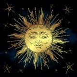 Ejemplo de oro del vector del sol y de las estrellas Diseño dibujado mano de la tela del estilo del boho, astrología, alquimia, s libre illustration