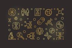 Ejemplo de oro del vector de la bioquímica en estilo del esquema stock de ilustración