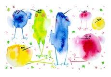 Ejemplo de pájaros divertidos, infantil, sistema de la acuarela Impresión, elementos para el diseño Aislado en el fondo blanco libre illustration