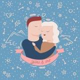 Ejemplo de pares en abrazos stock de ilustración