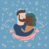 Ejemplo de pares en abrazos libre illustration